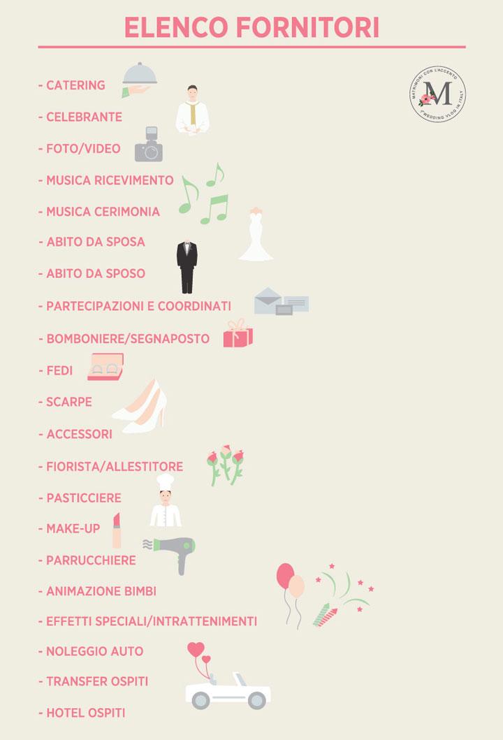elenco fornitori matrimonio
