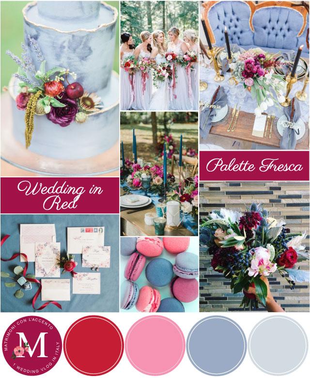 Palette per matrimonio rosso lampone e azzurro polvere ©Roberta Patanè Weddings