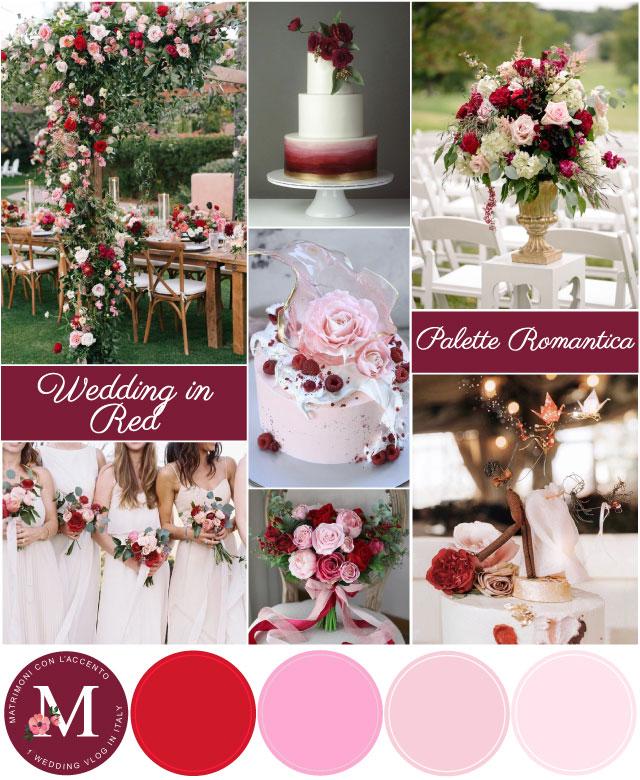Palette per matrimonio rosso romantico: rosso, bordeaux e sfumature di rosa
