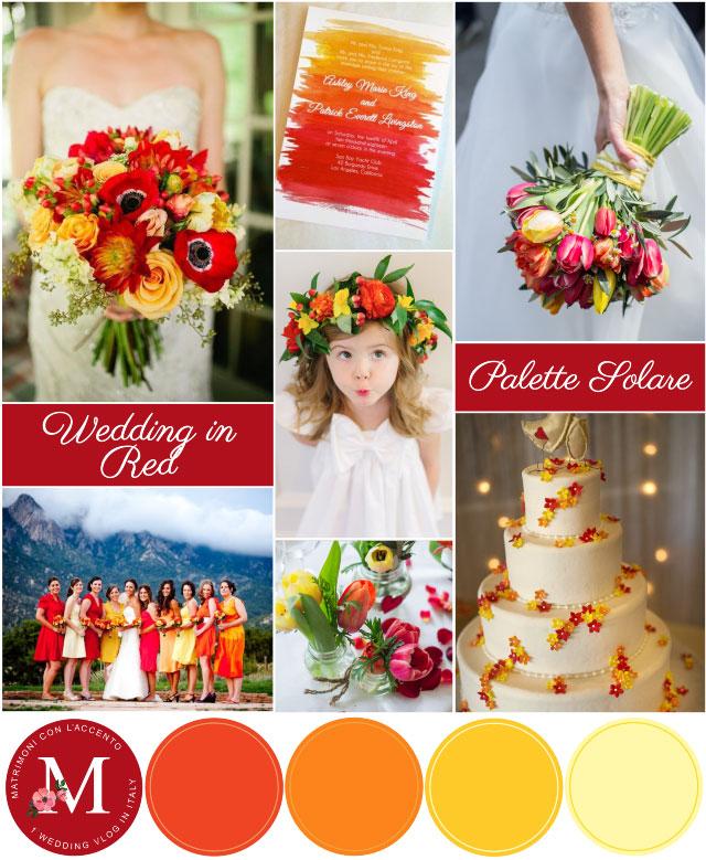 Palette per Matrimonio Solare nei colori rosso, arancione e giallo ©Roberta Patanè Weddings