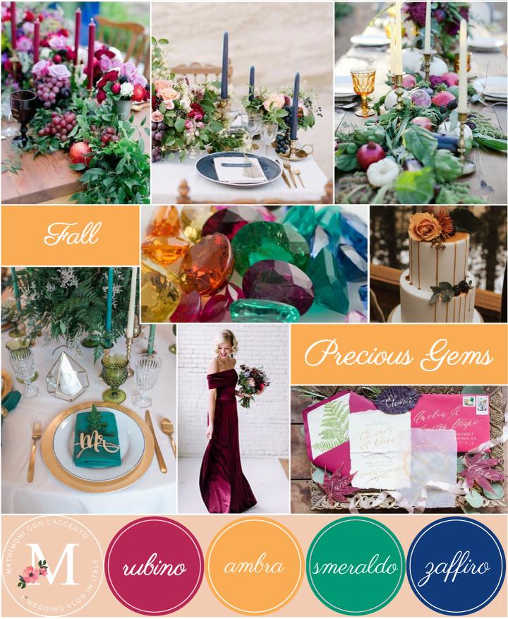Palette autunnale ispirata ai colori delle pietre preziose: rosso rubino, giallo ambra, verde smeraldo e blu zaffiro