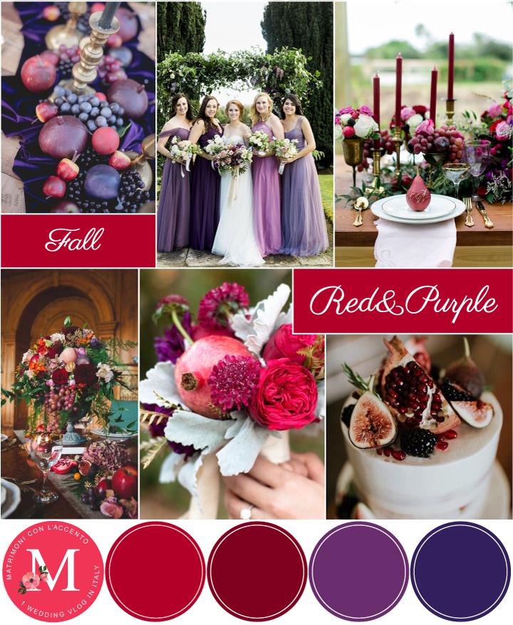 Palette autunnale intensa: sfumature di rosso e di viola sfruttando gli elementi della natura