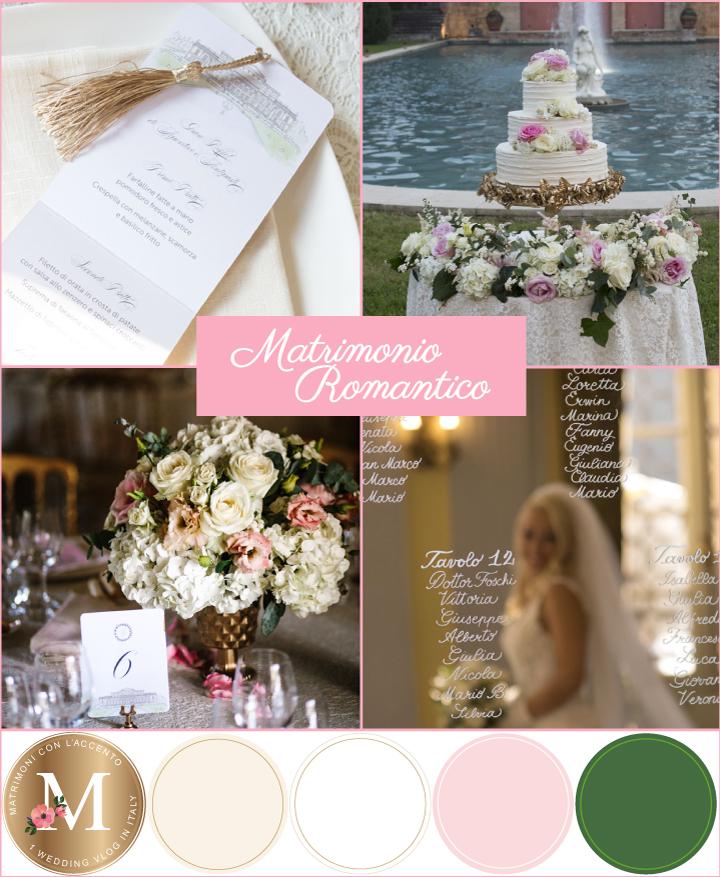 Palette per un matrimonio romantico: bianco, avorio, rosa, verde e oro