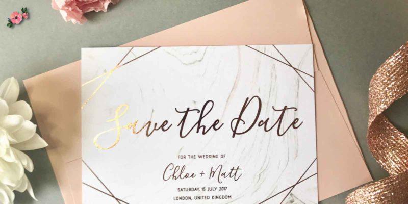 save the date cartaceo in oro rosa e avorio