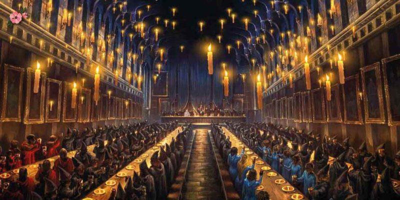 La Sala Grande di Hogwarts con centinaia di candele volanti