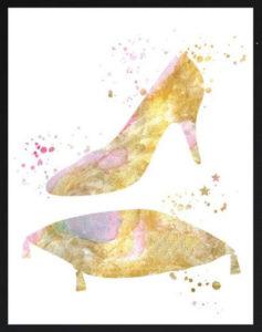 Acquerello scarpetta di Cenerentola per Matrimonio a tema Disney