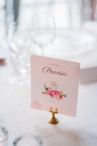 segnatavolo stampato su cartoncino e posto su supporto dorato