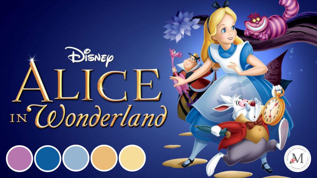 Palette sviluppata sul film animato Alice nel Paese delle Meraviglie da Roberta Patanè per Matrimoni con l'accento