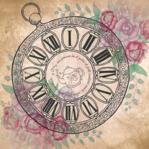 Copertina di un invito a tema Alice nel paese delle meraviglie raffigurante un orologio
