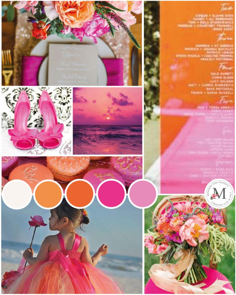 Matrimonio colorato - palette di Roberta Patanè Weddings arancione e fucsia