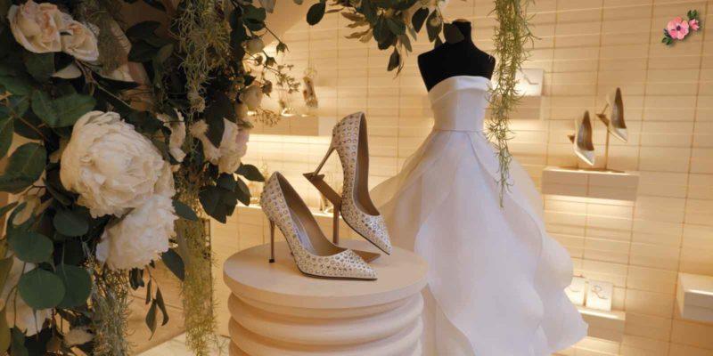 scarpe e abito da sposa_scarpe sergio rossi nella boutique di milano